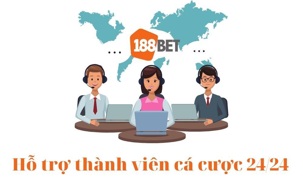 188Bet hỗ trợ thành viên tận tình