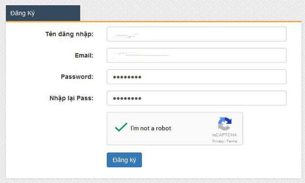 Form đăng ký tài khoản Bong88